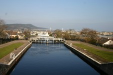 The Muirtown Locks, Inverness with the Kessock Bridge and Ord Hill behind